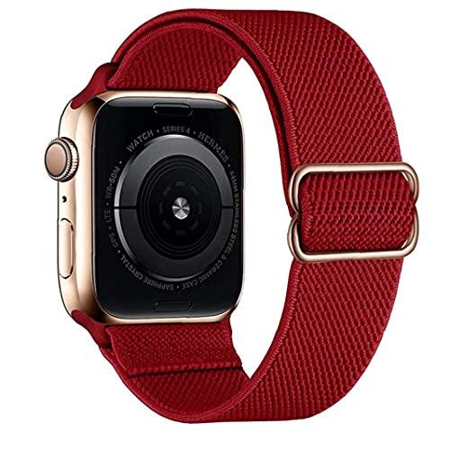 Liadance Nylon Correas de Reloj Compatible con iWatch 42mm 44mm Ajustable de Repuesto Estiramiento Pulsera de Rojo Chino Inteligentes Suministros