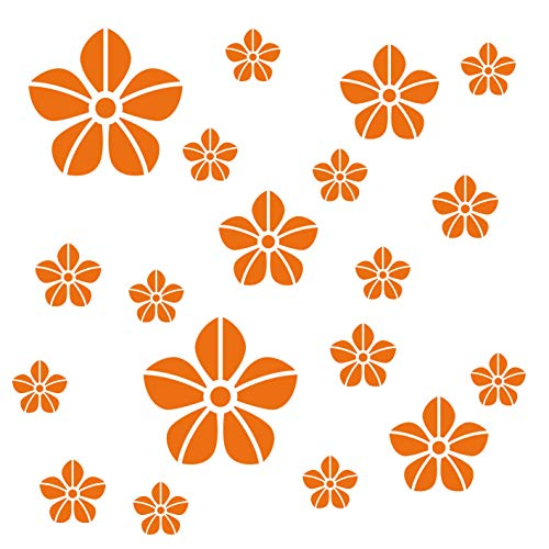 kleb-Drauf® | 19 Blumen | Orange - matt | Wandtattoo Wandaufkleber Wandsticker Aufkleber Sticker | Wohnzimmer Schlafzimmer Kinderzimmer Küche Bad | Deko Wände Glas Fenster Tür Fliese