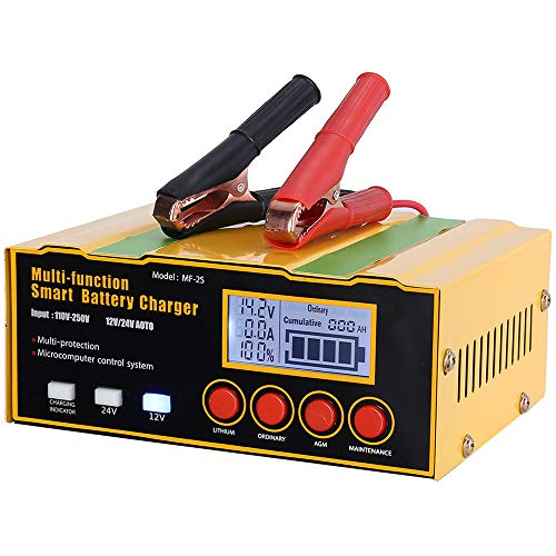 CreBeau Ladegerät Autobatterie 12A 12V/24V KFZ Batterieladegerät Vollautomatisches Intelligentes Erhaltungsladegerät Geeignet für Blei-Säure-Batterie oder Lithium-Batterie