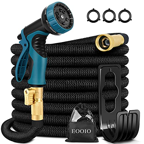 EOOIO 25FT Expandable Garden Hose - Flexible Water Hose with 3/4 Solid Brass Valve, Durable 4-Layers Latex, 10 Function Spray Nozzle, Yard Hoses