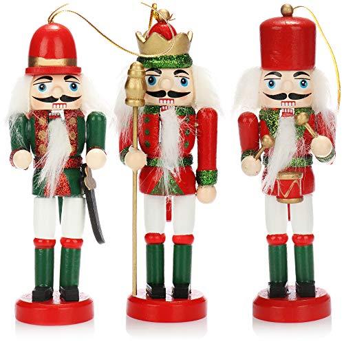 com-four® 3X Anhänger Nussknacker, Weihnachtsbaumanhänger in Form eines traditionellen Nussknackers, Verschiedene Designs, Höhe 12 cm (rot/grün)