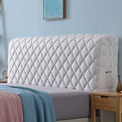 Headboard Cover, Queen Size Dark Gray Bed Headboard Slipcover Protector with Stretch Side and Pocket Dustproof Cotton Cover for Twin Full King Headboard,White-150x65cm(59x25.6inch)