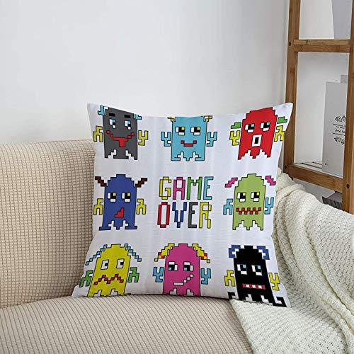 Kissenbezüge, Moderne Polyester Dekorative Baumwolle Kissenbezug,90er Jahre Ations Set, Pixel Robot Emotico,mit Unsichtbarem Reißverschluss 45x45 cm Kissenhülle, Kopfkissenbezug für Sofa Schlafzimmer