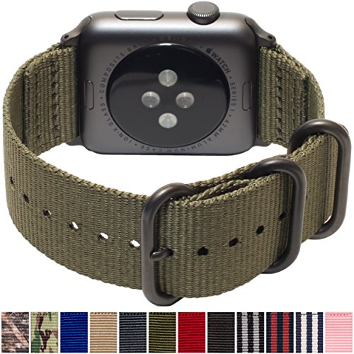 Carterjett 42mm 44mm XXL Compatible with Apple Watch Band Nylon Replacement iWatch Band XL Olive Sport Strap Extra Large Military-Style Hardware for iWatch Series 5 4 3 2 1 (42 44 XXL Army Green) 8