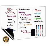 CUHIOY Tableau Blanc Magnétique A3+ pour Frigo,Cuisine Liste des Courses,Rappel Quotidien Planifier,Gribouillis Enfants Tableau...