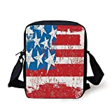 FAFANIQ American Flag Decor,Culture Flag Solidarity of USA Stars Inspiration Retro Royalty Artwork,Coral White Print Kids Crossbody Messenger Bag Purse