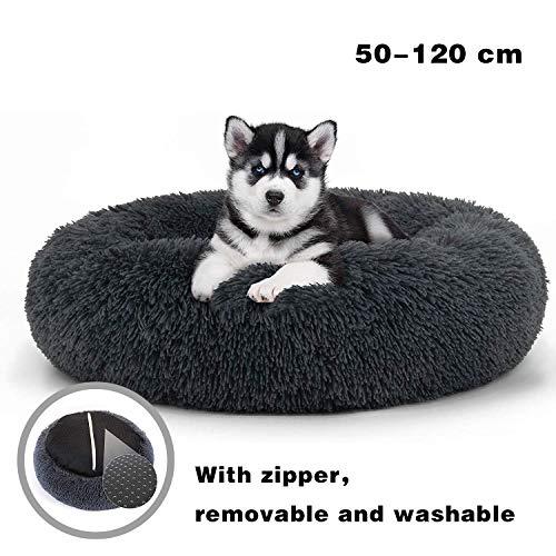 JRUI Hundebett PlüSch Exklusives Waschbar Größe und Farbe wählbar für große und extra große Hunde, dunkelgrau 50x50x20cm