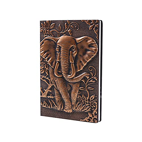 World Traveler Style Leather Embossed Elephant Journal Diary Notebook Retro Elephant Notebook Leather Journal Writing Notebook Antique Handmade Leather Daily Notepad Sketchbook (A5, 100 Sheets) Copper