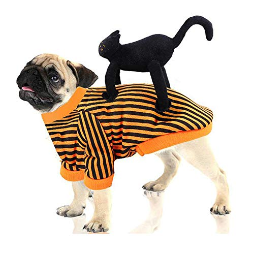QLINLEAF Halloween Pet Costume Funny Cat Rider Doll Clothes for Dog L