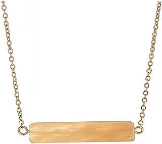 [Handmade Minimalist Natural Stone Short Bar Necklace] Natural (4/5)