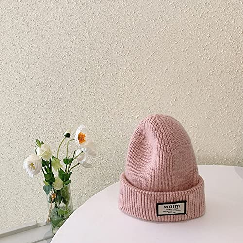 UKKO Sombrero de Invierno Mujer Invierno Chico Sombrero Sombrero Color Sólido Color Cálido Hecha Punto Sombrero Otoño Niño Y Niña Sombrero 3-12 Años-Pink,44-52Cm (8M To 5Y)