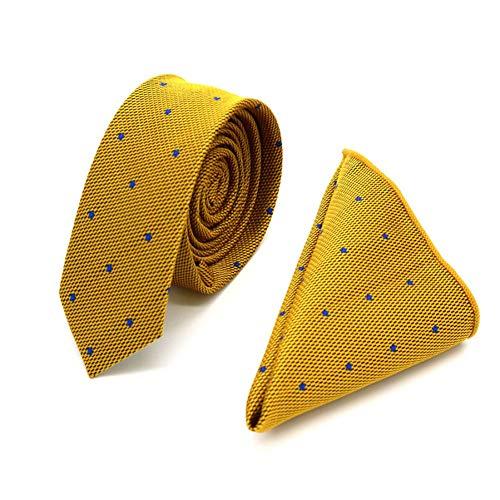 WOXHY Herren Krawatte Hochwertige 5Cm Herren Seidenkrawatte Set (Krawatte & Taschentücher) Plaid Polka Dot Skinny Slim Schmale Krawatten Einstecktuch Hochzeitsfeier