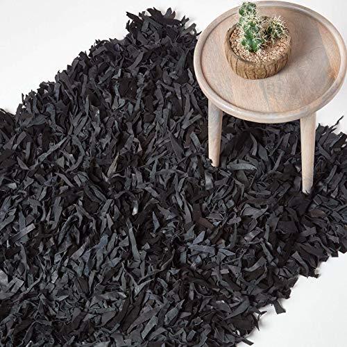 Homescapes Lederteppich Dallas 120 x 180 cm, Fransenteppich aus 100% Echtleder, moderner Shaggy-/Hochflor-Teppich, schwarz