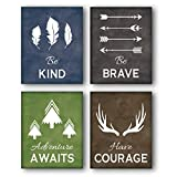 Unframed Be Kind-Be Brave Quotes Inspirational Art Print, Motivational Quote Phrases Inspiring Wall Canvas Poster Painting, Set of 4(8' x10' )Canvas Abstract Posters For Kids Room Classroom Decor