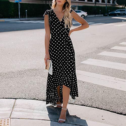 Women Summer Casual Short Sleeve Dresses, Dots Boho Mini Dress Lady Beach Sundrss Maxi Dress Black