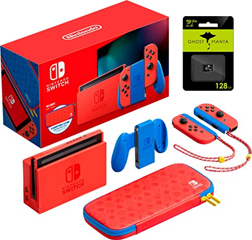 Nintendo Switch Mario Red & Blue Edition - Red Joy-Con, Video Game, 6.2'' Touchscreen LCD Display, 1920x1080 Resolution, 32GB Internal Storage, WiFi, HDMI, Bluetooth, W/GM 128GB MicroSD Card