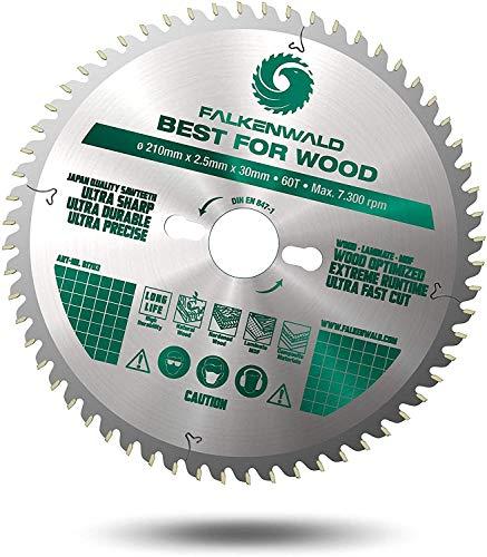 FALKENWALD® Sägeblatt 210x30 mm mit 60 Hartmetall-Zähnen für Holz (Wood) - Kreissägeblatt 210x30 mm kompatibel mit Bosch Tischkreissäge GTS 635-216, Kappsäge von Bosch, Einhell & mehr