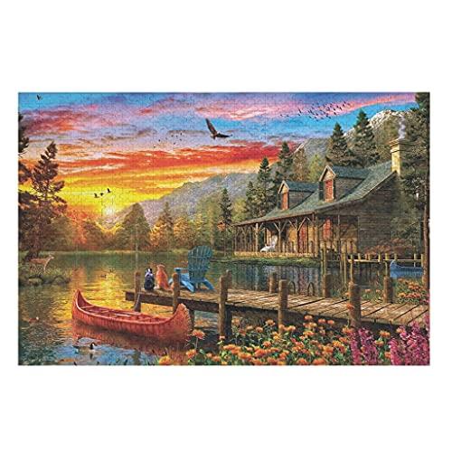 Mentmate Store 500 Stück Sonnenuntergang am See Holzpuzzle Hohe Qualität -Puzzle Holzpuzzles für Kreatives Geschenk White 200pieces