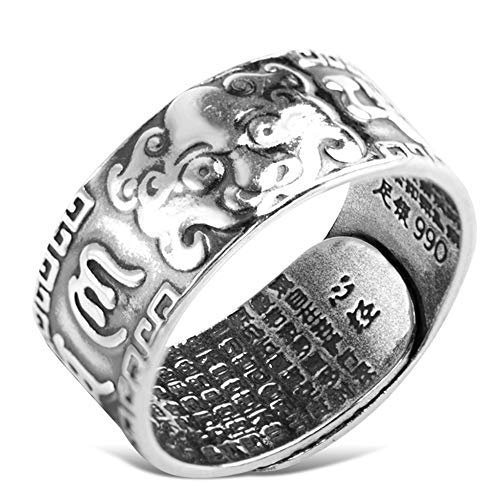 990 Sterling Silber Feng Shui PiXiu Ring Buddhist Sechs Zeichen Mantra Amulett Ring Reichtum Lucky Open verstellbare Edelstahl Persönlichkeit Retro Schmuck
