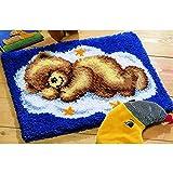 3D Knüpfteppich Kits DIY Needlework Unfinished Häkeln Teppich Garn Kissen Mat Stickerei Teppich Teppich Ted Auf Wolke Home Decor,35x24.8inch