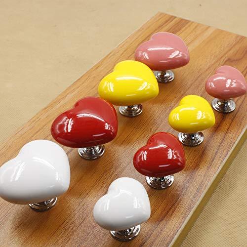 Dyyicun12 Garderobenknopf - Herzform Keramik Schubladenschrank Garderobenschrank Pull Knob Möbelgriff rot Groß