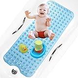 bisoo BPA Free 40x100 cm Alfombra Bañera Antideslizante Infantil Extra Larga para Baño de Niños Bebes y Ducha Infantil - Libre de BPA - Alfombrilla Baño con Tratamiento Antibacteriano (Azul)