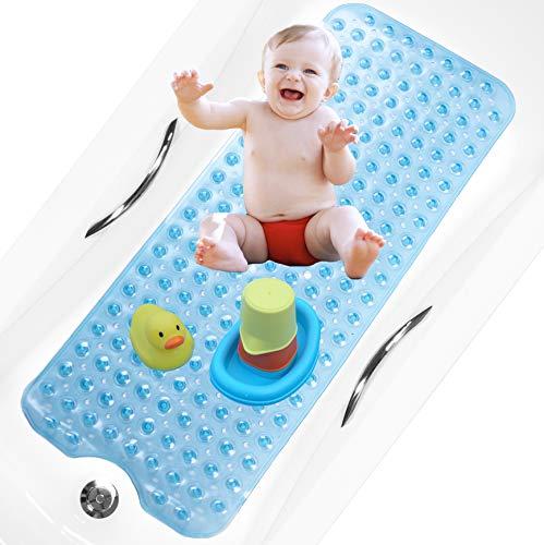 bisoo Alfombrilla Bañera Antideslizante Infantil Extra Larga - 40x100 cm - para Baño Bebe y Ducha Niños - Libre de BPA - Alfombra Baño con Tratamiento Antibacteriano para Familias (Azul)