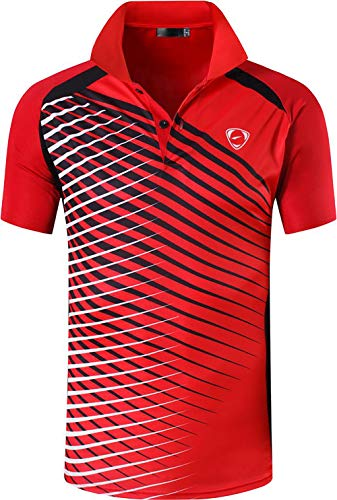 ZITY Mens Polo Shirt Cool Quick-Dry Sweat-Wicking Color Block Short Sleeve Sports Golf Tennis T-Shirt(Bred-XL)