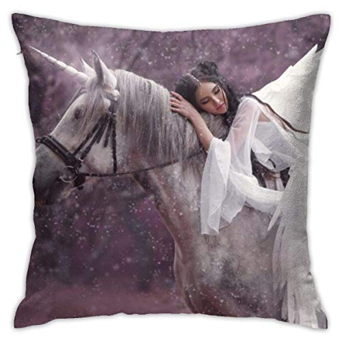 N/Q Beautiful Elf and Unicorn Decorative Throw Pillow Cover Zippered Cushion Case for Home Sofa Bedroom Car Chair House Party Indoor Outdoor 18 X 18 Inch