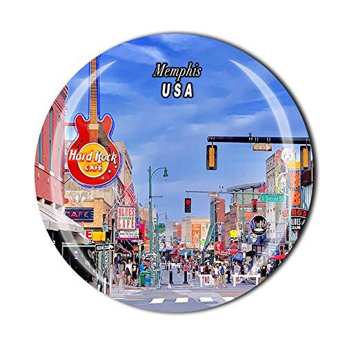 Memphis USA America - Imán de cristal para nevera en 3D, recuerdo de viaje, colección de regalo, decoración para el hogar y la cocina