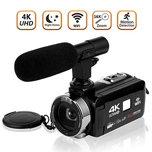Video Camera Camcorder 4K Ultra HD Digital Camera Wifi Video Camcorder 3.0 inch Touch Screen Night Vision Vlogging Camera with External Microphone