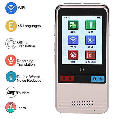 ASHATA Traducción de Voz Inteligente,Instant Translator con Pantalla HD de 2.4 Pulgadas,Micrófono Dual,Apoyo Android4.4,para Aprendizaje,Viaje,Negocio y Reunión,etc.(Múltiples 45 Idiomas)(Oro)