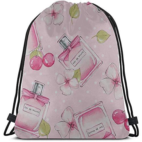Bouia Mooie retro meisjes parfum fles trekkoord vuilniszakken polyester fitness trekkoord tas gym trekkoord tassen voor gym reizen