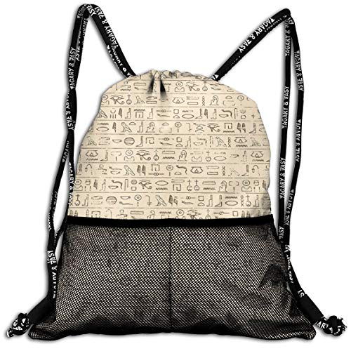 AZXGGV Drawstring Backpack Rucksack Shoulder Bags Gym Bag Sport Bag,Old Dated Hieroglyphics Ancient Language Hand Written Style Borders with Worn Look