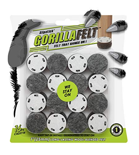 GorillaFelt Chair Leg Floor Protectors/Felt Glides (Set of 16) Tap-On Felt Furniture Pads Guaranteed to Stay On, 1 Inch Round Sliders (1 Inch)