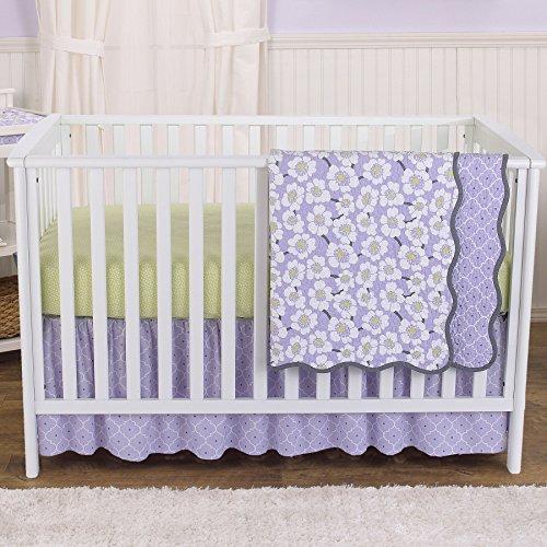 Lavender Poppy Floral 4 Piece Baby Girl Crib Bedding Set by Balboa Baby