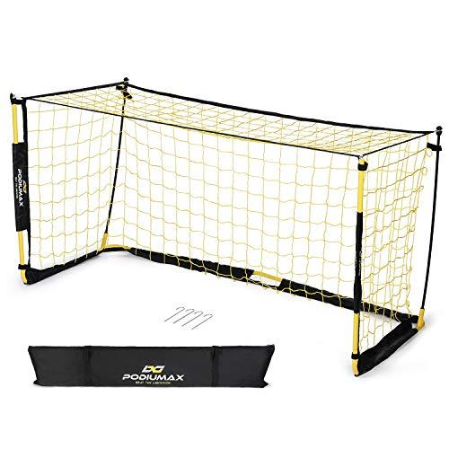 PodiuMax Tragbar Fußballtor für Kinder, 2m x 1.2m x 1m, Stabil und Robust, Fiberglas Rahmen, Knotenloses Netz und Stahl Basis mit Heringe