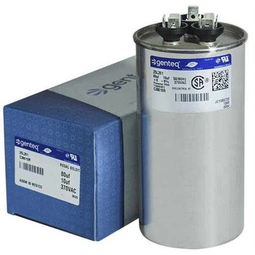 100335-26 - 80 + 10 uf MFD 370 Volt VAC - Lennox Round Dual