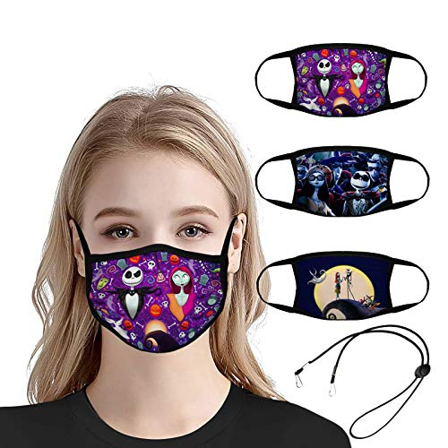 Reusable Cloth Face Mask,3pcs Washable Dust Mouth Cover with 1pcs Mask Lanyard,2 Layers Face Cover for Men Women Teens (Nightmare Before Christmas)