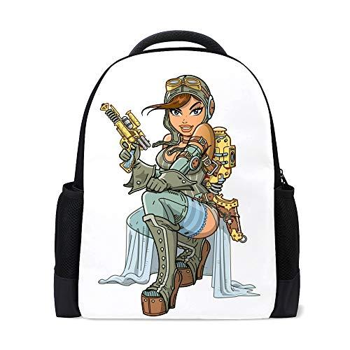 CHEHONG - Mochila sexy Steampunk aviador colorido para viajes, mochila escolar de poliéster, con múltiples bolsillos, ligera, para adolescentes