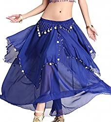 Blue Belly Dance Chiffon Skirt with Coins