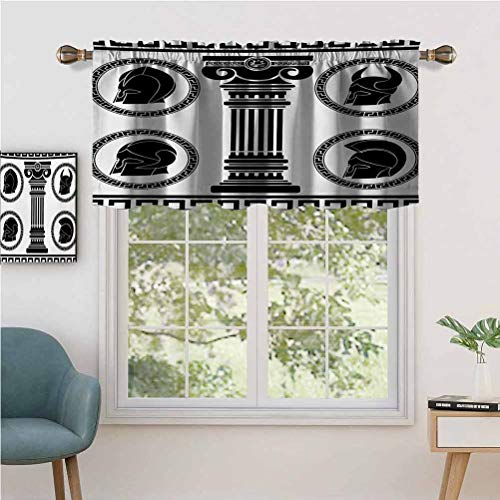 Hiiiman Blackout Short Curtains with Rod Pocket Patterned Circular Frames with Antique Accessories Spartan Classic Cos, Set of 1, 52'x18' Small Half Window Valances for Kitchen