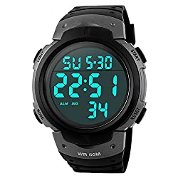 Readeel Sport Watch Digital LED Display Watch Outdoor Men Watch , Gray - best digital watch for nurses - The only one of the digital watches for nurses with stethoscope - Electronic Water Resistant Multifunction Watch