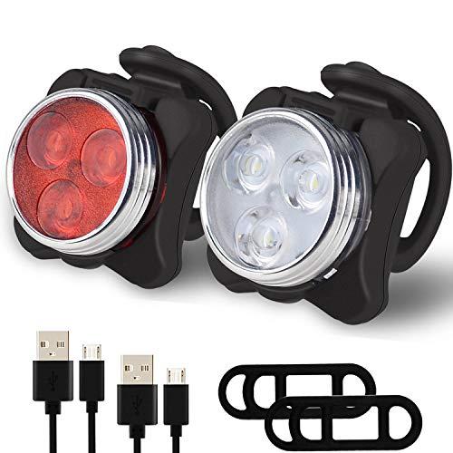 Dolphin World LED Luces Bicicleta Delantera y Trasera Recargables USB Luz Bicicleta Impermeable Clip Correa Silicona Luces de Bicicleta (2 Piezas)