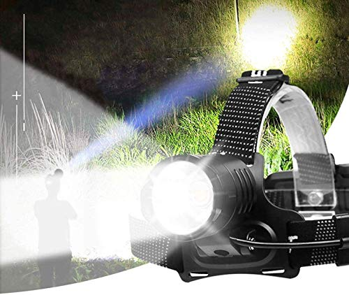 Rechargeable Headlamp, 10000 Lumens Super Bright Led Headlamp with Batteries Included, Zoomable, 3 Modes, Waterproof Best Headlights for Adults, Camping, Hiking, Exploration, Outdoor