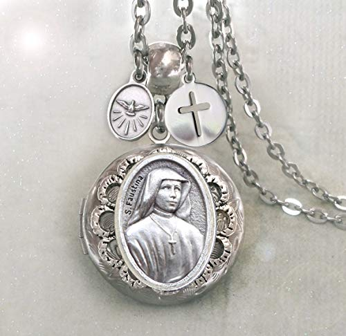 St. Maria Faustina Locket Necklace, Patron Saint Confirmation Gift, Catholic Jewelry, Holds Two Photos