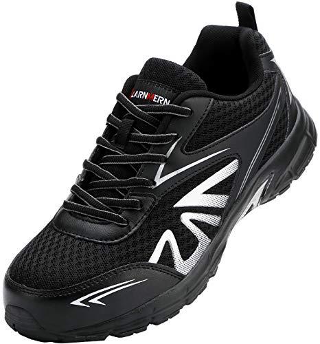 [LARNMERN] 安全靴 メンズ レディース 超軽量 滑り止め 通気性 クッション 作業靴 セフティシューズ メッシュ スニーカー つま先保護 ワークシューズ 防刺 衝撃吸収 耐久性(�K橘、43)