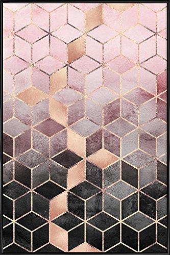 """JUNIQE® Abstrakt & Geometrisch Poster im Kunststoffrahmen 20x30cm - Design """"Pink Grey Gradient Cubes"""" entworfen von Elisabeth Fredriksson"""