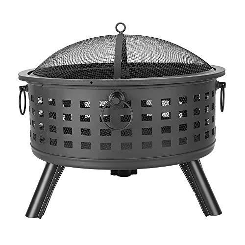 "QIANQBKN 26"" Round Lattice Fire Pit Bowl, Outdoor Wood Burning, Iron, 3 Legs, for Patio, Backyard, Fireplace Poker Black (Black)"