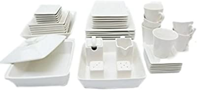 45 Piece Dinnerware Set White Square Banquet Plates Dining Dishes Kitchen Bowls & eBook by Easy2Find